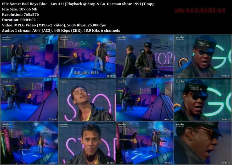 Bad Boys Blue - Luv 4 U (Playback @ Stop & Go  German Show 1994)