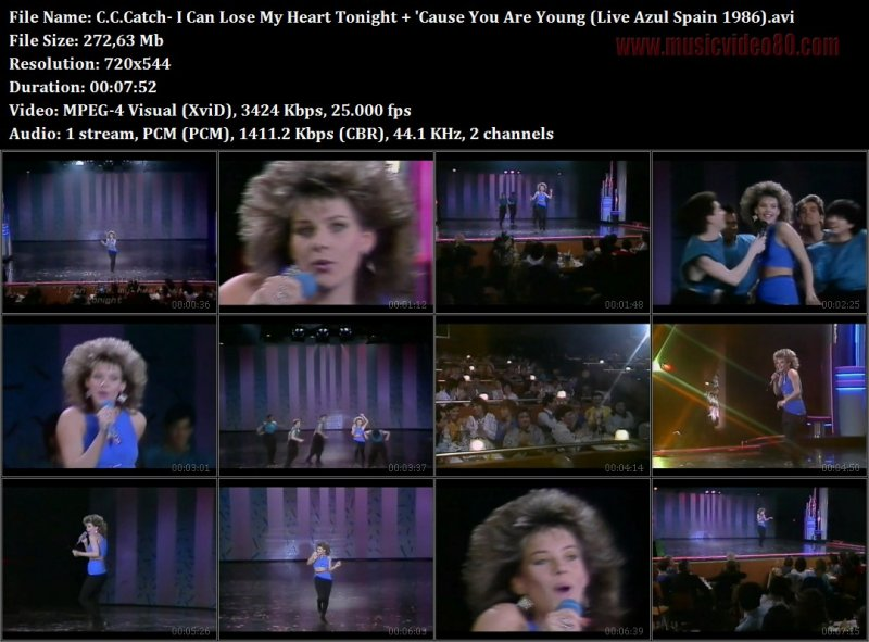 C.C.Catch- I Can Lose My Heart Tonight + 'Cause You Are Young (Live Azul Spain 1986)