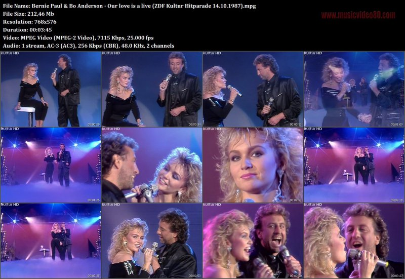 Bernie Paul & Bo Anderson - Our love is a live (ZDF Kultur Hitparade 14.10.1987)