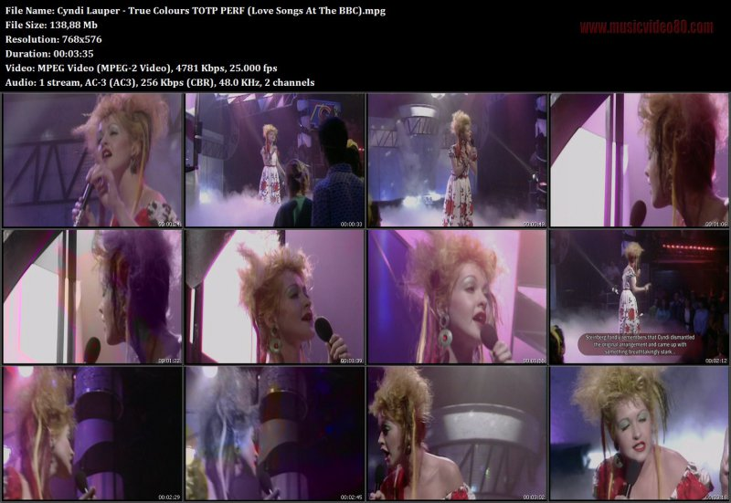 Cyndi Lauper - True Colours TOTP PERF (Love Songs At The BBC)