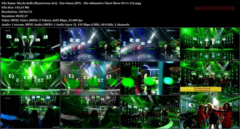 Nicole Kolb (Mysterious Art) - Das Omen (RTL - Die ultimative Chart Show 09.11.12)